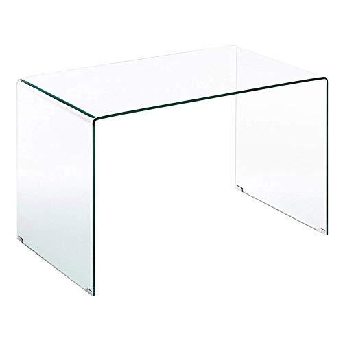 Scrivania Scrittoio da Ufficio in Vetro Temperato Curvato - Luxury Z-02 - (126 x 74 x 70 cm) Design curvo e moderno