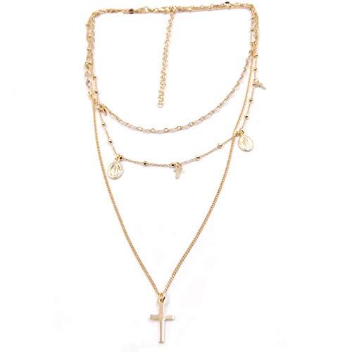 Collar rosario para mujer de Plata con multihilos de religiosa con Cruz medalla VIRGEN
