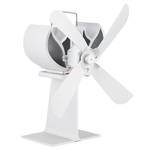 LZKW Ventilador de Calor para Chimenea, 50-360 ℃ Ventilador para Chimenea Aleación de Aluminio Blanco 4 aspas para Quemador