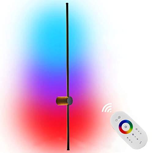 LED Wandleuchte RGB Eck Wandlampe Mit Fernbedienung,Dimmbare Farbwechsel Aluminium Wandbeleuchtung Innen Für Schlafzimmer Wohnzimmer Treppenhaus Flur, Schwarz [Energieklasse A],120cm rgb