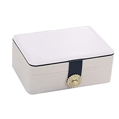 erddcbb Caja de joyería Organizador Caja de joyería Viaje de Cuero Mini Regalo de Boda Princesa Chica Pendiente Simple Horquilla Collar Caja de Almacenamiento Blanco