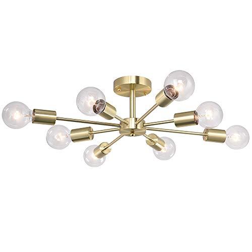 OYIPRO Vintage Deckenleuchte 8-Flammig Deckenlampe E27 Lampenfassung Metall Innenbeleuchtung für Wohnzimmer Wohnzimmer Schlafzimmer Flur