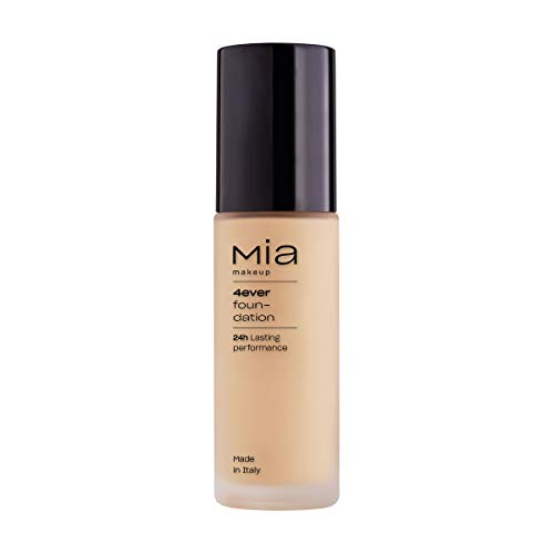 MIA Makeup 4Ever Foundation Fondotinta Fluido Coprente Effetto Matt, Ad Alta Coprenza Senza Effetto Maschera, Texture Fluida E Modulabile (Light Beige)