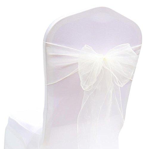 MoGist 25 Stück Organza Stuhlschleifen Stuhl Band Schleife für Hochzeit Bankett Geburtstagsfeier Dekoration (Milchig Weiß)