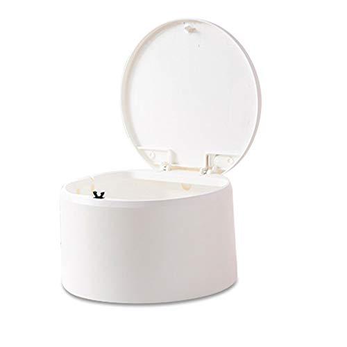 Mini Encimera Papelera de Escritorio con Tapa, 2.5L Trash Can Bote de Basura, Mini Dustbins Desk Rubbish Bin Cubo de Mesa, Usado en Maquillaje Soporte Vanidad Baño Cocina Coche Escritorio(Blanco)