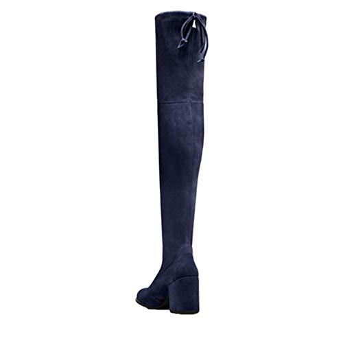 Generic11 Overknee-Stiefel für Damen Einfarbige Wildleder-Langstiefel Schnürschuhe mit quadratischem Absatz Leichte Herbst-Winterstiefel