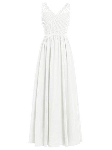 Brautjungfernkleider Spitze Lang A-Linie Chiffon Ballkleider V-Ausschnitt Ärmellos Abendkleider Hochzeit Kleider Elfenbein 54
