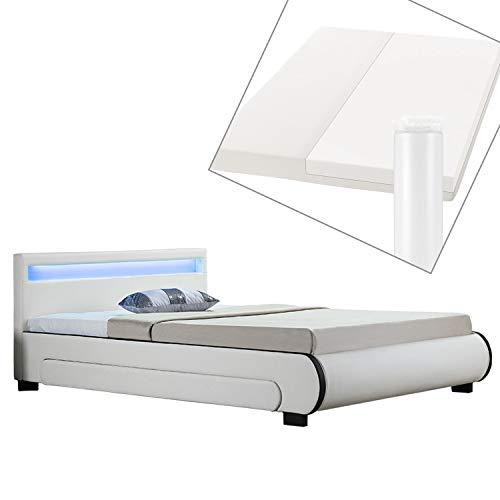 ArtLife Polsterbett Bilbao 140x200 cm mit Matratze, Bettkasten, Led-Beleuchtung & Lattenrost, Bett aus Holz & Bezug aus Kunstleder gepolstert weiß