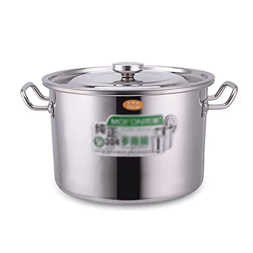 Olla de cocina al vapor, olla de sopa de acero inoxidable 304 gruesa para empresas de catering/hogar con tapa para estufa de gas/cocina de inducción (14-54L) Sartén de cocción (tamaño: