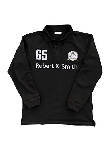 [ロバート・アンド・スミス] 100% コットン 定番 ゴルフ ポロシャツ ゴルフウエア(長袖)メンズ (黒(ブラック), XL)
