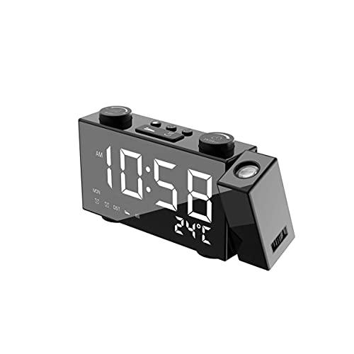 デジタルプロジェクター目覚まし時計、LED電子テーブルスヌーズバックライト温度湿度ウォッチ時間の投影