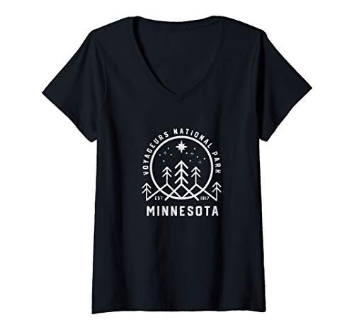 Womens Minnesota Voyageurs National Park North Star Hiking Camping V-Neck T-Shirt