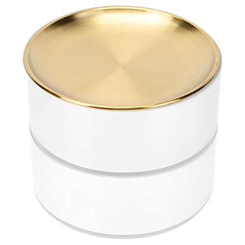 Minkissy Bandeja de Joyería Multicapa con Tapa Cilíndrica Caja de Baratijas de Metal Accesorios para El Cabello Organizador Apilable Caja de Almacenamiento de Joyas