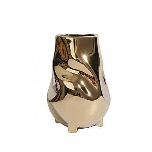 Jarrón dorado irregular, galvanizado de cerámica dorada, apto para el hogar, sala de estar/decoración de escritorio maceta decoración 14 x 14 x 20 cm. Pequeño