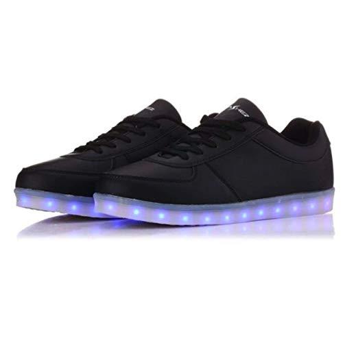 Flashez LED Light Up Zapatos de Entrenadores Original Blanco Negro Bajo Tops Hombres Mujeres Marca del Reino Unido, color Negro, talla 45 1/3 EU