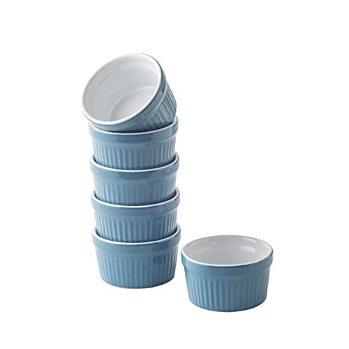 Souffle Förmchen,6er Set Auflaufform Klein Keramik,Schüssel für Backofenfest Pastetenform,Souffleförmchen Formen-Förmchen Muffins,Cupcakes,Creme Brulee,Familienessen (Blau)