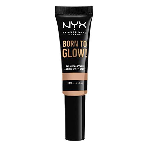 NYX Professional Makeup Born to Glow Radiant Concealer, Schimmerndes Finish, Reduzierung von Augenringen, Highlighten und Contouring, Vegane Formel, Farbton: Natural