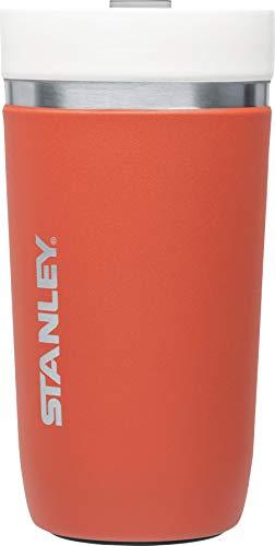Stanley GO Ceramivac Thermo-Trinkbecher mit Keramik-Beschichtung, 0.47 L, salmon / lachsrot, Doppelwandig, Vakuumisoliert, Deckel verschließbar, Thermobecher Isolierbecher Kaffeebecher