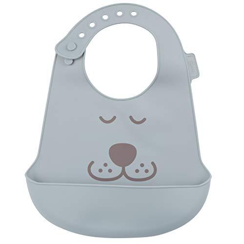 Bieco Baby Silikon Lätzchen mit Auffangschale | 2er Set Latz Baby Wasserdicht aus Silikon | BPA frei und Größenverstellbar | Lätzchen Abwaschbar | Bibs Silikon Baby | Babylatz Sabberlätzchen Baby