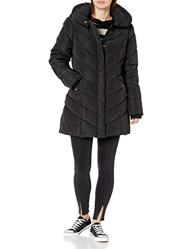 Steve Madden Women's Long Heavy Weight Puffer Jacket, Black, Medium