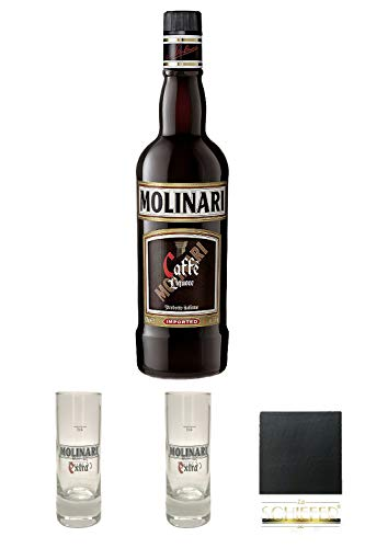 Molinari Caffe Sambuca 0,7 Liter + Molinari Sambuca Shotglass 4cl hoch + Molinari Sambuca Shotglass 4cl hoch + Schiefer Glasuntersetzer eckig ca. 9,5 cm Durchmesser