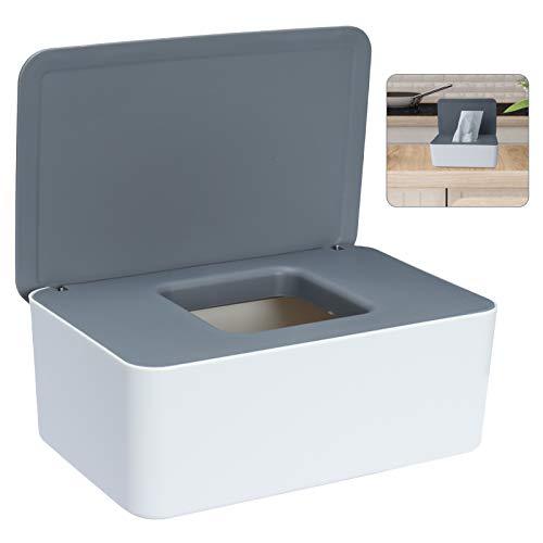 Sinwind Feuchttücher-Box, Aufbewahrungsbox für Feuchttücher, Baby Feuchttücherbox, Toilettenpapier Box, Taschentuchhalter, Spenderhalter mit Deckel für Zuhause und Büro (Grau-Weiß)