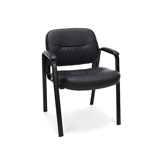 OFM Essentials Collection Bonded Leather Executive Side Chair, in Black (ESS-9010)