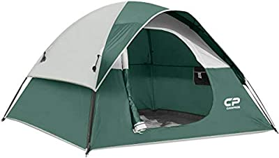 CAMPROS Tent-3-Person-Camping-Tents, Waterproof Windproof Backpacking Tent with Top Rainfly, Easy Set up Small Lightweight Tents, for All Seasons Hiking Beach Outdoor with 3 Mesh Windows - Dark Green