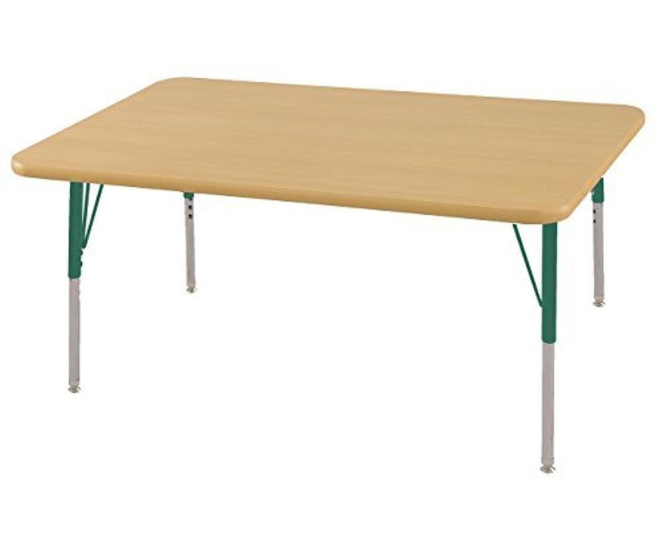 過ち剃る聖人ECR4Kids Mesa T-Mold 30 x 48 Rectangular School Activity Table Standard Legs w/Swivel Glides Adjustable Height 19-30 inch (Maple/Green) [並行輸入品]