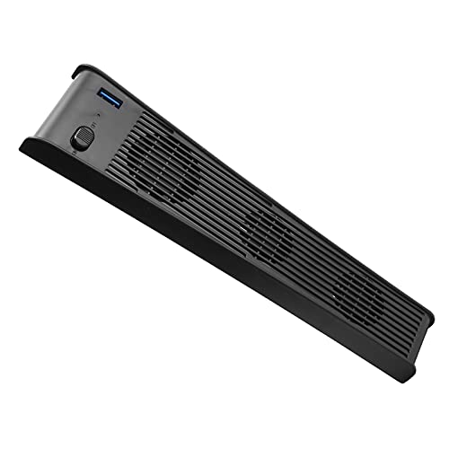 Goshyda Ventilador de enfriamiento de Consola de Juegos, Enfriador de enfriamiento rápido USB portátil con 3 Ventiladores, para Host de Juegos PS5 DE/CD-ROM(Negro)