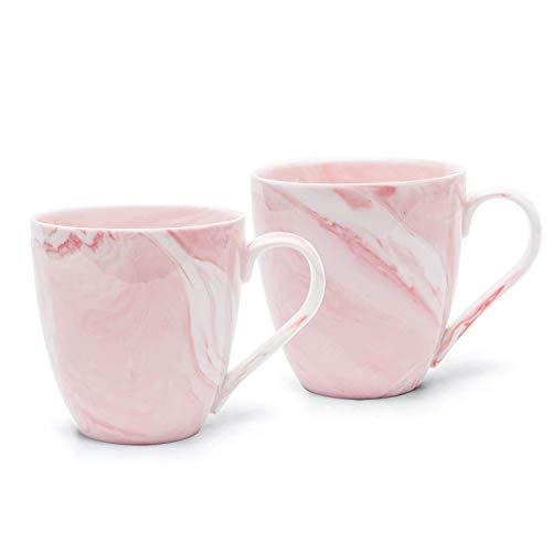Hausmann & Söhne XL Tasse weiß groß aus Porzellan in rosa Marmorierung | Tasse 350 ml (400 ml randvoll) im 2er Set | Kaffeetasse/Teetasse | Kaffeebecher Marmor | Geschenkidee