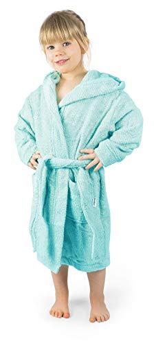 Ehrenkind® Bademantel Kinder mit Kapuze 100% Bio-Baumwolle | Kinderbademantel | Junge Mädchen | Größe 146/152 Poolblau