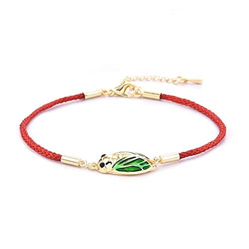 KAITUO Parejas Pulsera Yoga curación Luminosa Brillo en la Pulsera Verde Lotus Charm Beads Pulsera para Hombres Mujeres Oración Budismo (Metal Color : TE523)