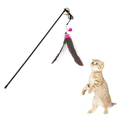 Westeng Bacchette da Gioco per Gatti, Piuma Bacchetta Training Asta con Campana e Peluche colorato Colore Casuale Size 49cm