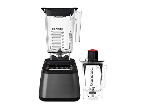 Blendtec Designer 725 Blender - WildSide+ Jar (90 oz) and Twister Jar (37 oz) BUNDLE - Professional-Grade Power - Self-Cleaning - 6 Pre-Programmed Cycles - 100-Speeds - Gunmetal/Black