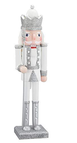 TFH Nussknacker Figur König Trommler Holz Weihnachten Weihnachtsdeko weiß Silber modern ausgefallen (König)