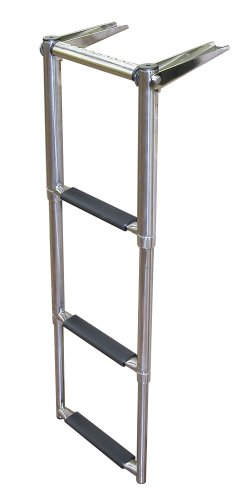 JIF Marine EQB3 Over Platform Telescoping Boat Ladder, 3-Step