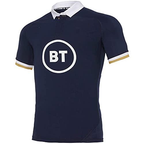 GOLDEN MANGO 2021 Schottland Home/Away Rugby-Jersey, Sommersport Atmungsaktives Casual T-Shirt Fußball-Hemd Poloshirt, Männer/Damen Outdoor Casual Training Shirt,Blau,S