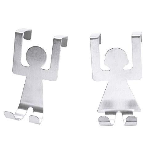 Tür Rücken Haken Cartoon Humanoid Nail-Free Schrank Tür Edelstahl Zum Aufhängen Ihre Kostüm Hüte Schals Handtücher Teppich Feile Taschen 2pcs
