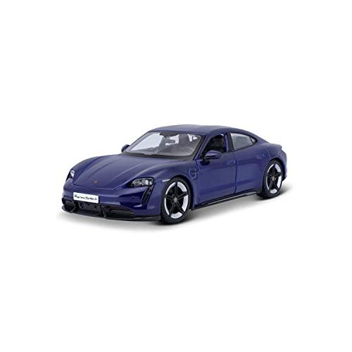 Bburago-18-21098B Porsche Taycan Turbo S in Scala 1/24 (18-21098B), Colore Blu