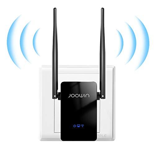JOOWIN WLAN Repeater 300 Mbit/s 2,4GHz WLAN Verstärker kompatibel zu Allen WLAN Geräten WPS Ethernet-LAN/WAN Port Repeater/AP/Router Modus (Schwarz)