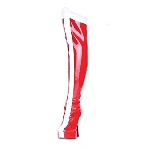 Higher-Heels PleaserUSA Plateau-Kniestiefel Electra-2090 Lack rot/weiß 37