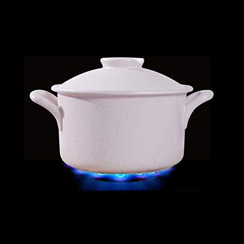 Casserole en Céramique Stockpot Rond,Chaleur Céramique-Pot Chaud Résistant De Soupe De Pierre De Maifan pour Le Bibimbap De Cuisson Lente Blanc 3.5l