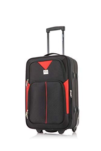 ATX Luggage Ryanair, EasyJet, BA, Jet 2, Super Lightweight Expandable Cabin Approved Trolley 2 Wheeled Bag, FITS Within 55x40x20 and 56x45x25cm Built-in Lock (21' Carry-on, Black/Red)