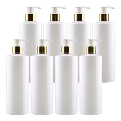 ZEOABSY 8 Piezas 500ml Envase Cosmético Botella de Pet Plástico Blanco con Oro/Blanco Bomba Dosificador Diseñadas para Contener Gel Baño Champú Loción