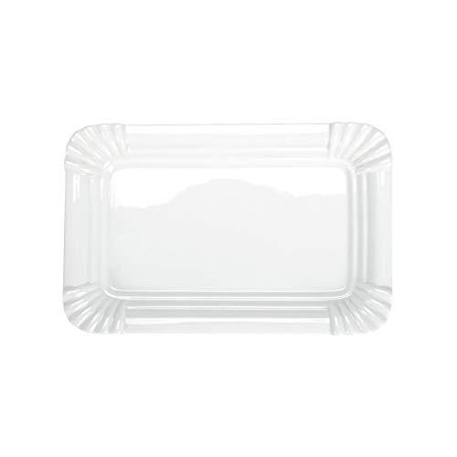 BUTLERS Puro Teller in Pappoptik aus Qualitätsporzellan 25x16,5 - Weißer Porzellanteller - origineller Speiseteller