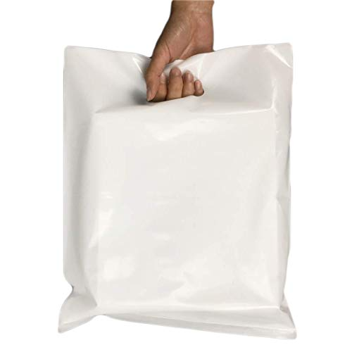 APQ Pack of 100 Die Cut Handle Merchandise Bags 12 x 3 x 20. White Polyethylene Bags 12x3x20. Thickness 1.25 Mil. Retail Shopping Bags for Party Favors, Stores, Trade Shows.