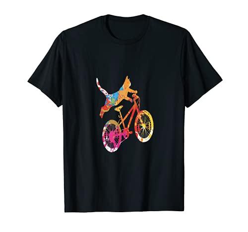 Colorato freestyle arancione tabby gatto senza mano BMX ciclo trucco Maglietta