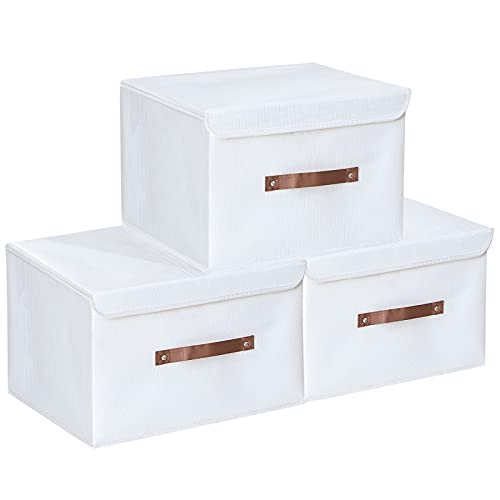 Yawinhe 3 PCS Cajas de almacenaje, Cajas de Almacenaje con Tapa, Cajas de Almacenamiento Plegables, Organizador para Juguetes, Libros, Ropa (Blanco, 38x25x25cm)
