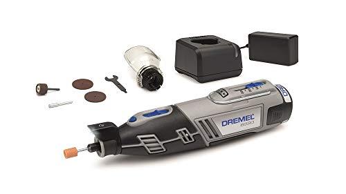 Dremel 8220 Akku Multifunktionswerkzeug 12V Set (mit 5 Zubehören und 1 Aufsatz, Variable Drehzahleinstellung 5.000-35.000 1/min zum Schleifen, Schneiden, Schärfen, Polieren, Reinigen, Gravieren)
